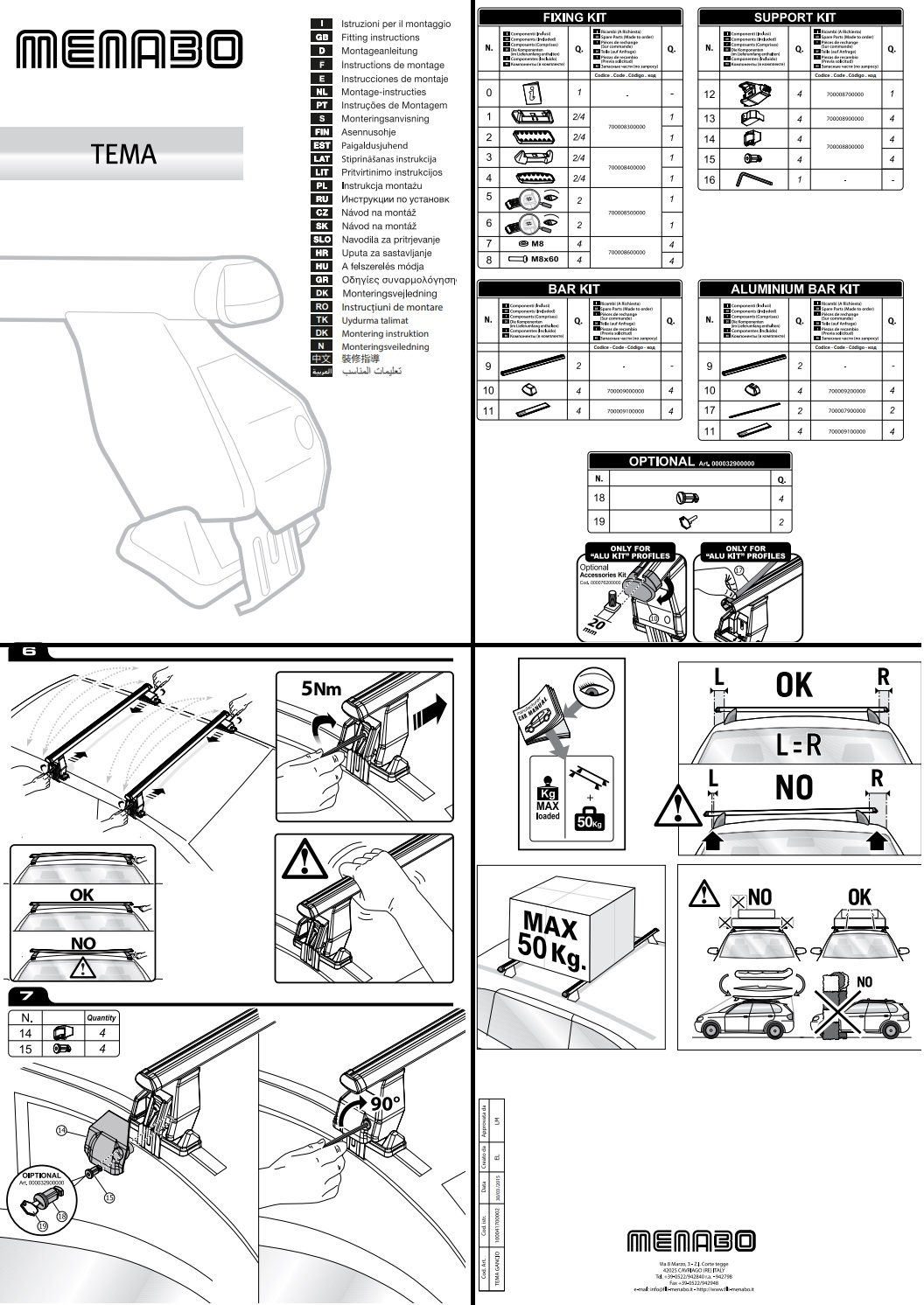 Menabo Tema Stählerne Dachträger Set für Seat Leon III 2012 FIX059G/_A7