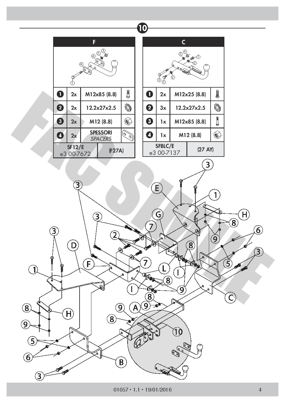 7Br Faisceaux pour Alfa Romeo 147 Hayon 2000 Attelage Démontable 01057/_B1