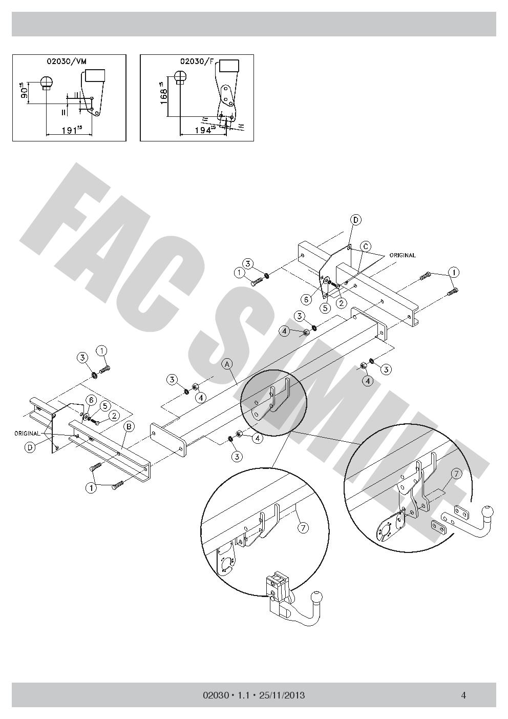 Bola de Remolque Fija para Volkswagen Touran+7p C2 Kit 03-15 43064/_A4