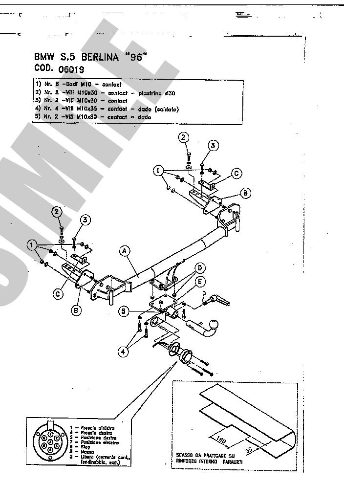 AHK Abnehmbare Anhängerkupplung 7p C2 E-Satz BMW 5 Series B39 96-99 06019/_B1