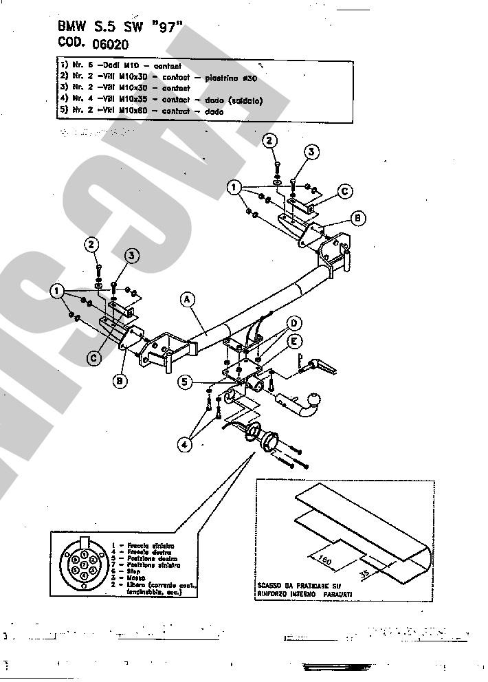AHK Abnehmbare Anhängerkupplung 13p E-Satz BMW 5 Ser Touring B39 01-04 06020B2