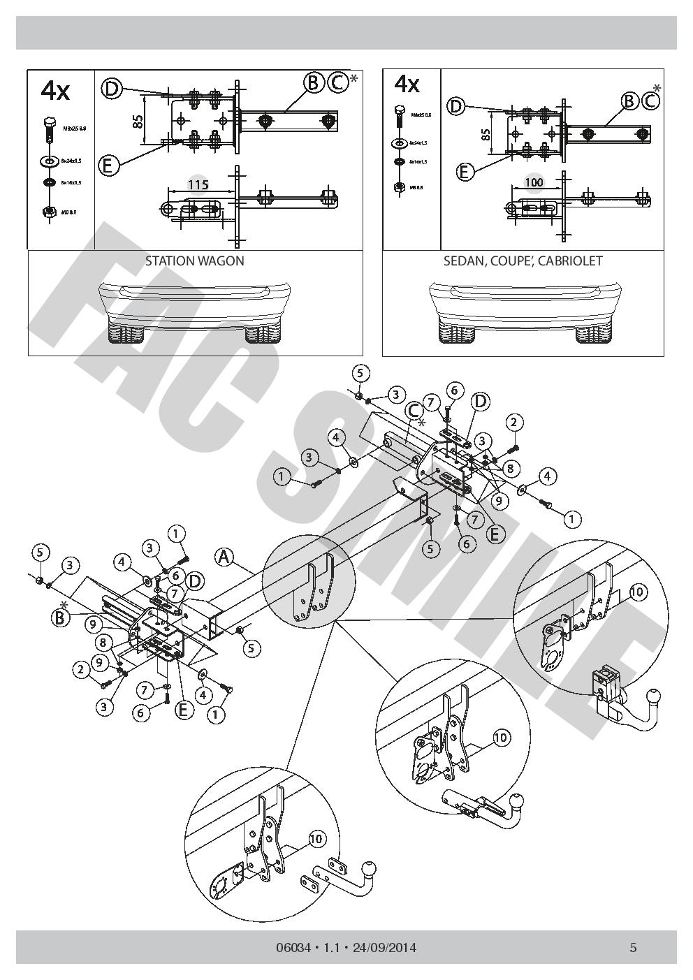 AHK Feste Starre Anhängerkupplung 7p C2 E-Satz BMW 3 Series 00-05 06034//F/_B4