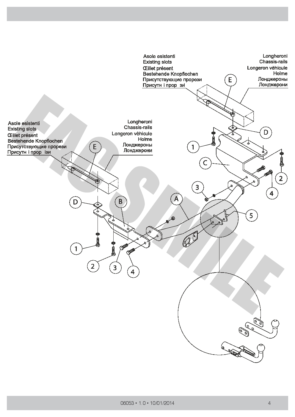 Tow Bar 06053/_A2 Swan Neck Towbar For Chrysler Voyager 7 Pin Electrics MPV 2002