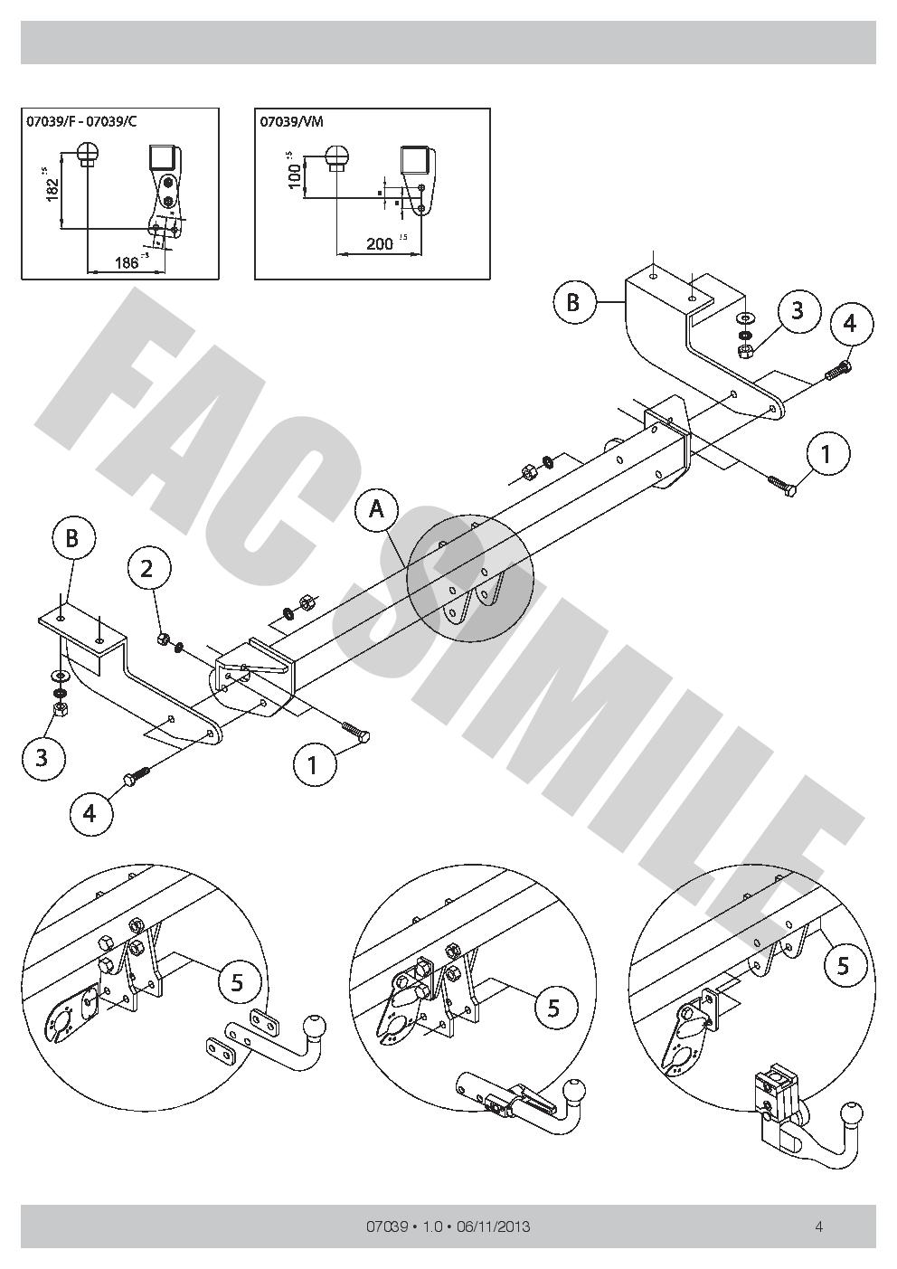 AHK Vertikale Anhängerkupplung 13p C2 E-Satz Citroën C4 Fließ 07-10 07039VM/_B2
