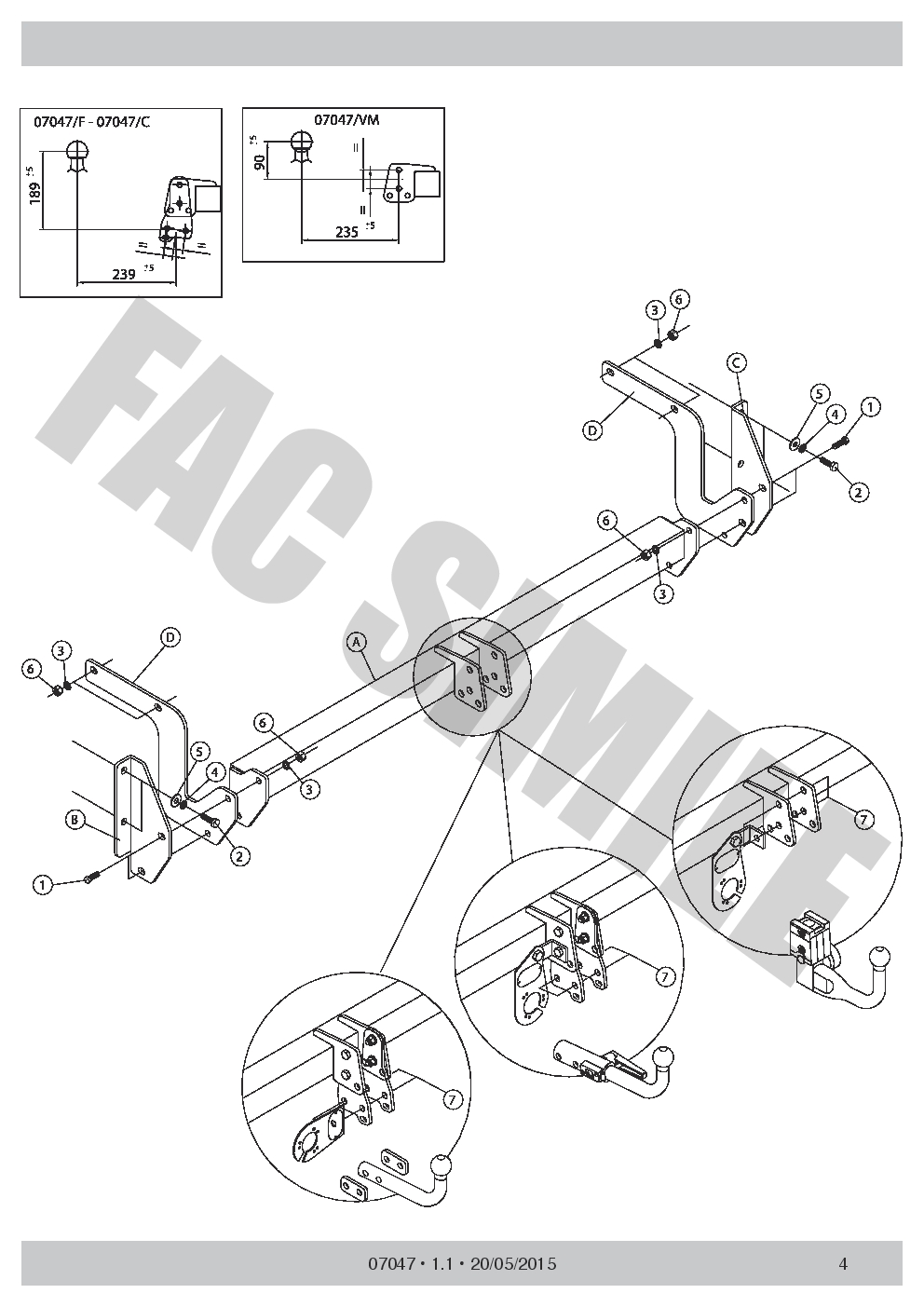 07047//VM/_B3 AHK Vertikale Abnehmbare Anhängerkupplung Peugeot 308 SW 2014