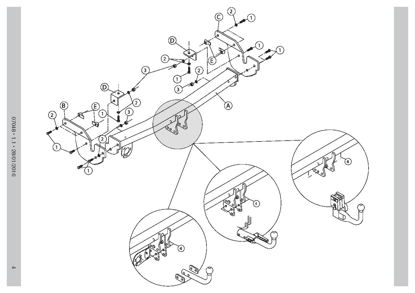 AHK Abnehmbare Anhängerkupplung Citroën C4 Cactus 2WD 2014 07048//C/_A1