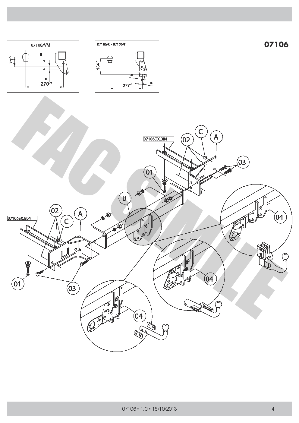 Swan Neck Towbar 7pin Bypass Relay for Opel Vauxhall Zafira Tourer 11-on 0710/_A1