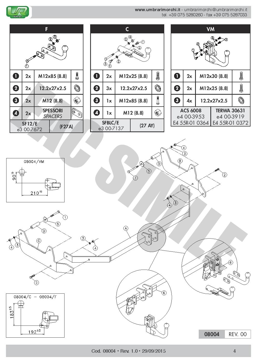 AHK Feste Starre Anhängerkupplung 7p C2 E-Satz Dacia Lodgy Kombi 12 08004//F/_B1