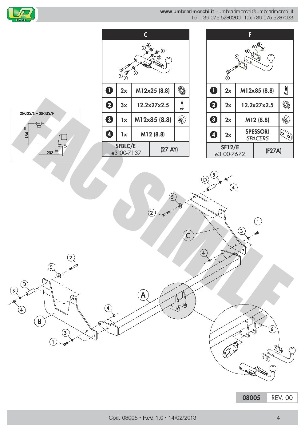 7p C2 E-Satz Dacia Dokker MPV 12 08005//F/_B1 AHK Feste Starre Anhängerkupplung