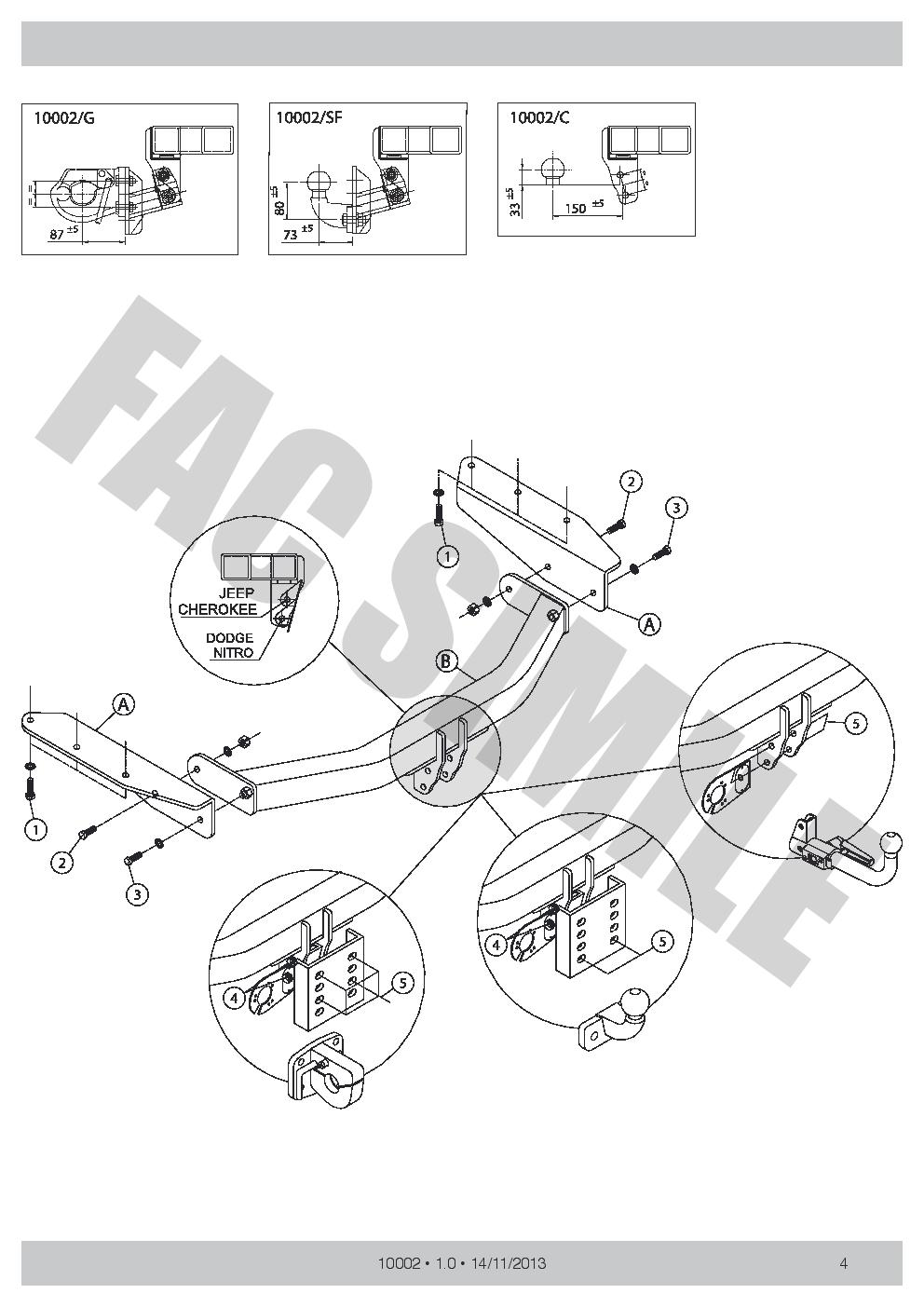 7p C2 E-Satz Dodge Nitro SUV 2-4WD 2007 10002/_B1 AHK Flansch Anhängerkupplung