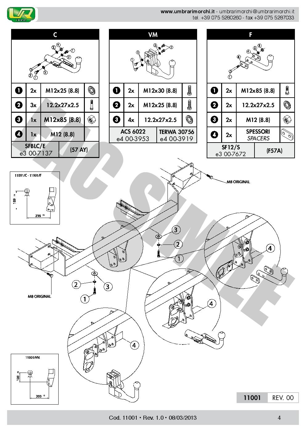 11001//F/_B1 Attelage Fixe Col Cygne Pour Mini COOPER R56 BERLINE 3 p 750 50 06