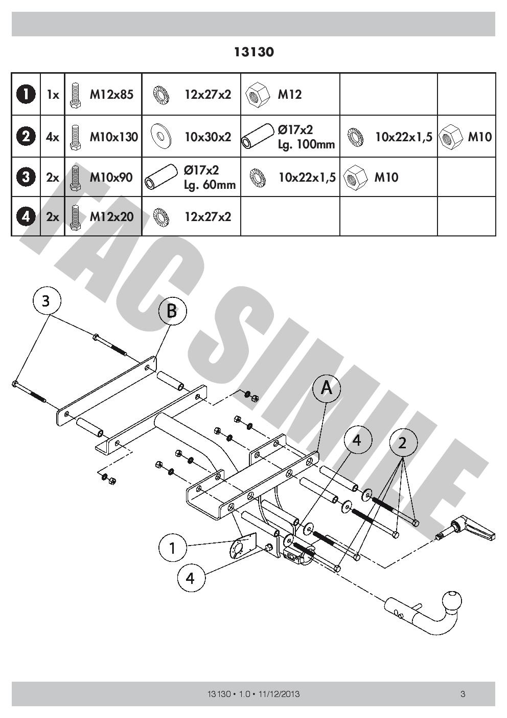 7Br Faisceaux pour Fiat Strada Pickup 1999 13130/_A2 Attelage Démontable