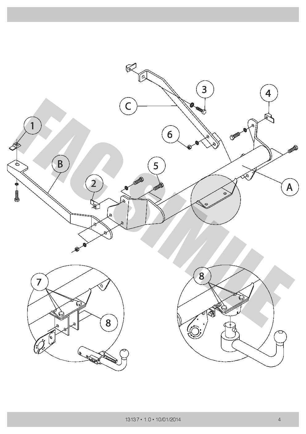 AHK Abnehmbare Anhängerkupplung 1313/_B8 13p C2 E-Satz Peugeot 807 MPV 2005