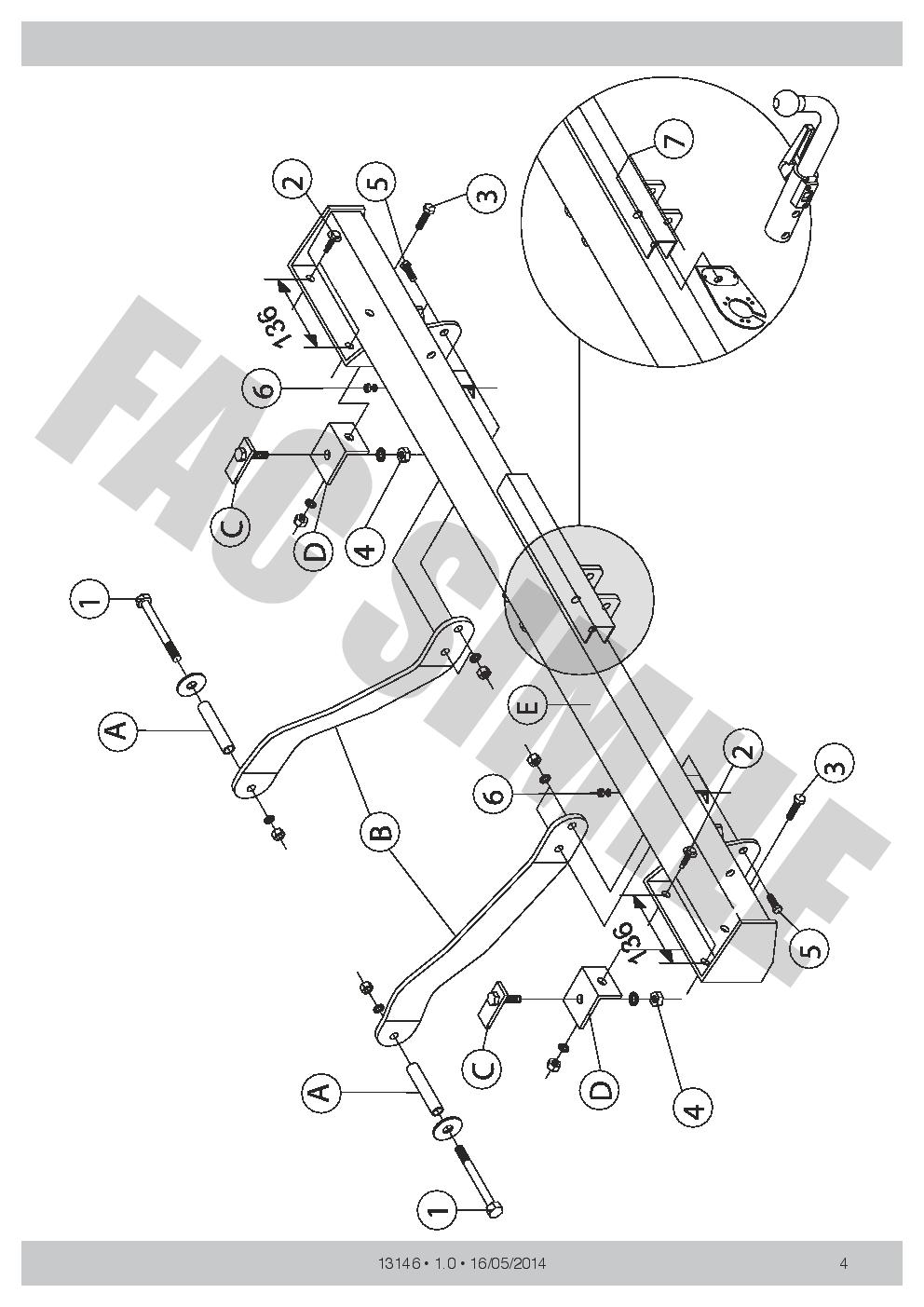 Bola de Remolque Desmont Kit C2 13 pin para Fiat DUCATO VAN 2011 New 13146/_A4