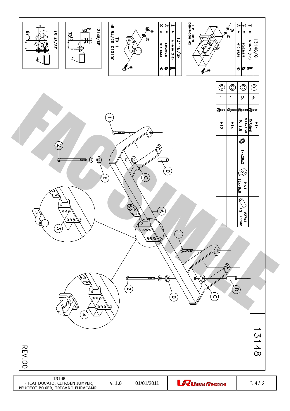 Fixed Flange towbar 7pin Wiring for Fiat Ducato Van 2002-2006 131/_H6