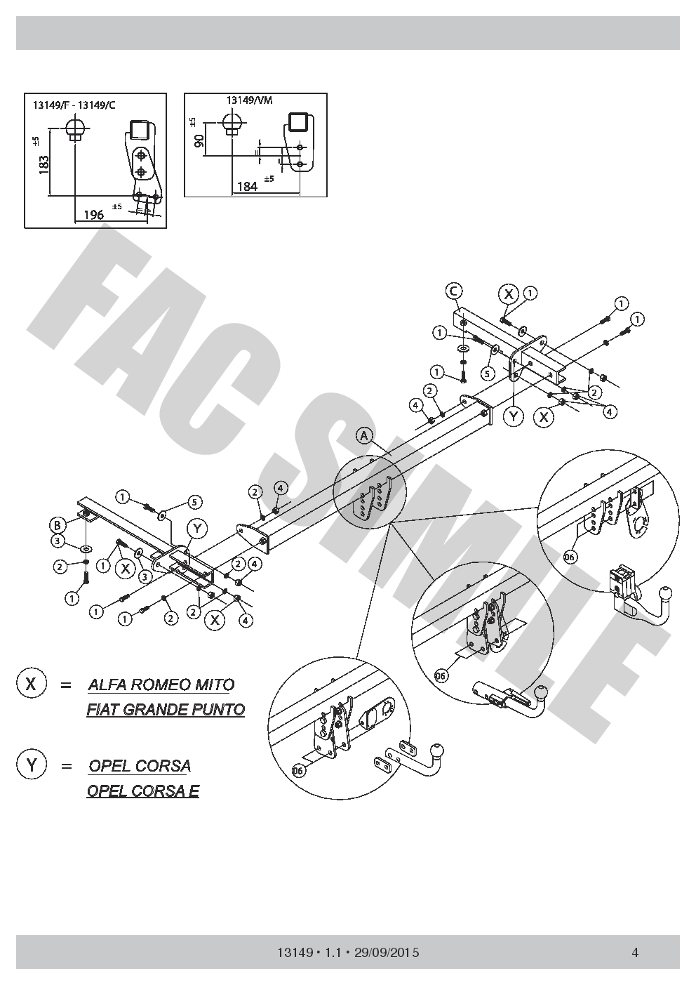 AHK Abnehmbare Anhängerkupplung 7p C2 E-Satz Opel Vauxhall Corsa E 13149//C/_E9