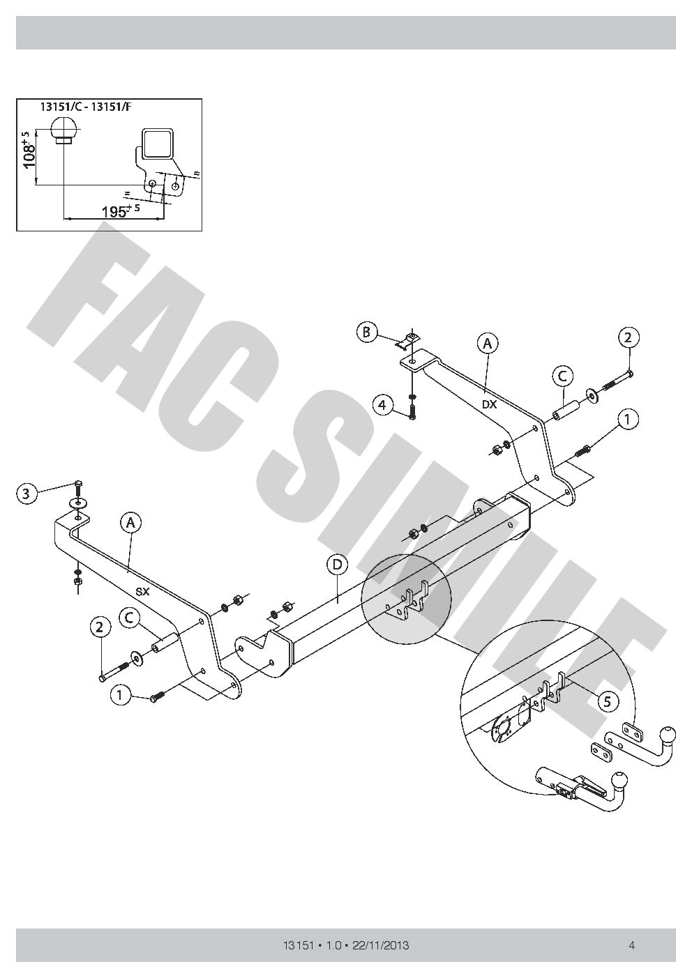 AHK Abnehmbare Anhängerkupplung 7p E-Satz Peugeot Expert Van 2007-2016 1315/_A5