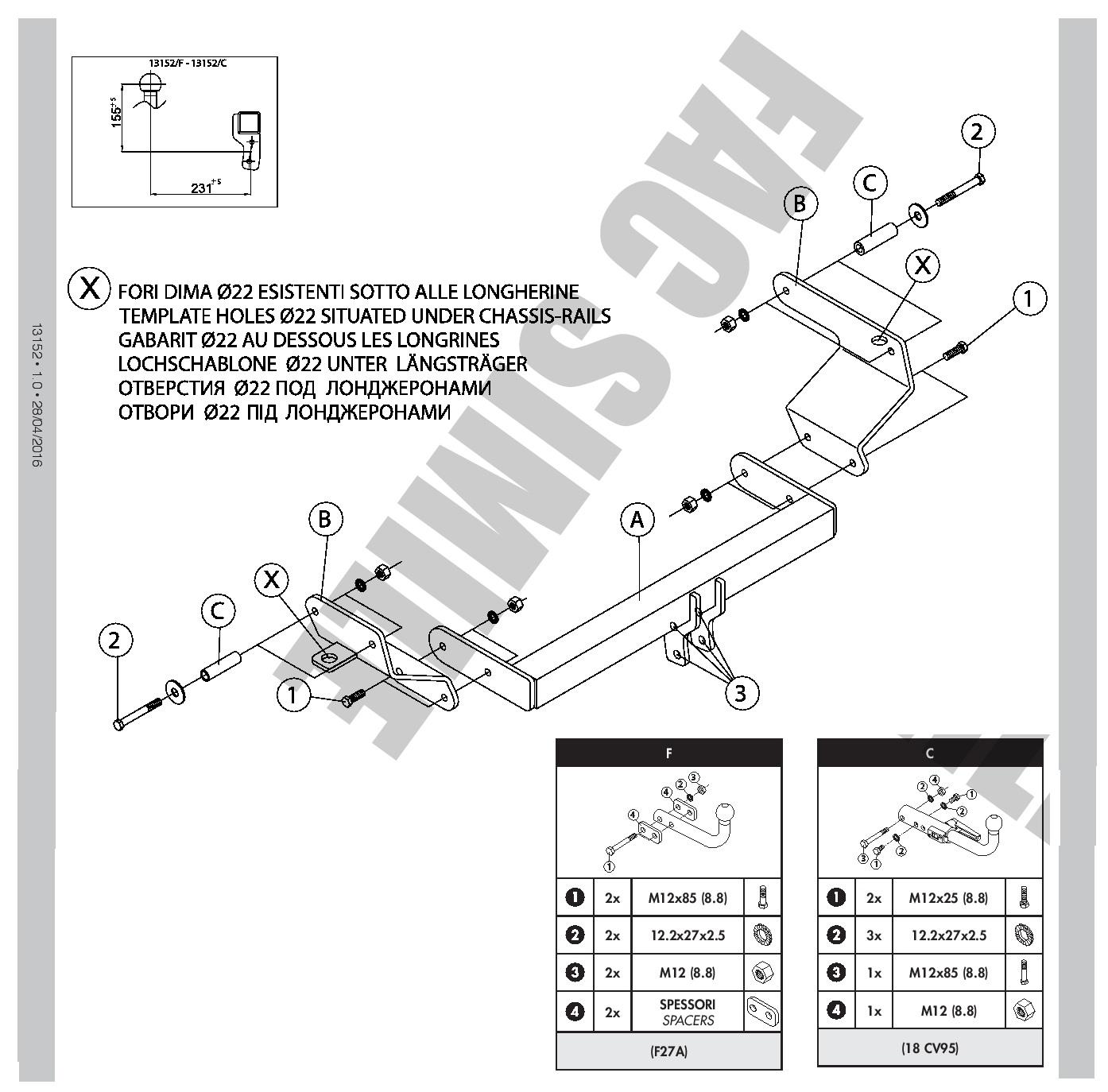 Swan Neck Towbar For Fiat Qubo 7 Pin Electrics MPV 2008 Tow Bar 13152//F/_A3