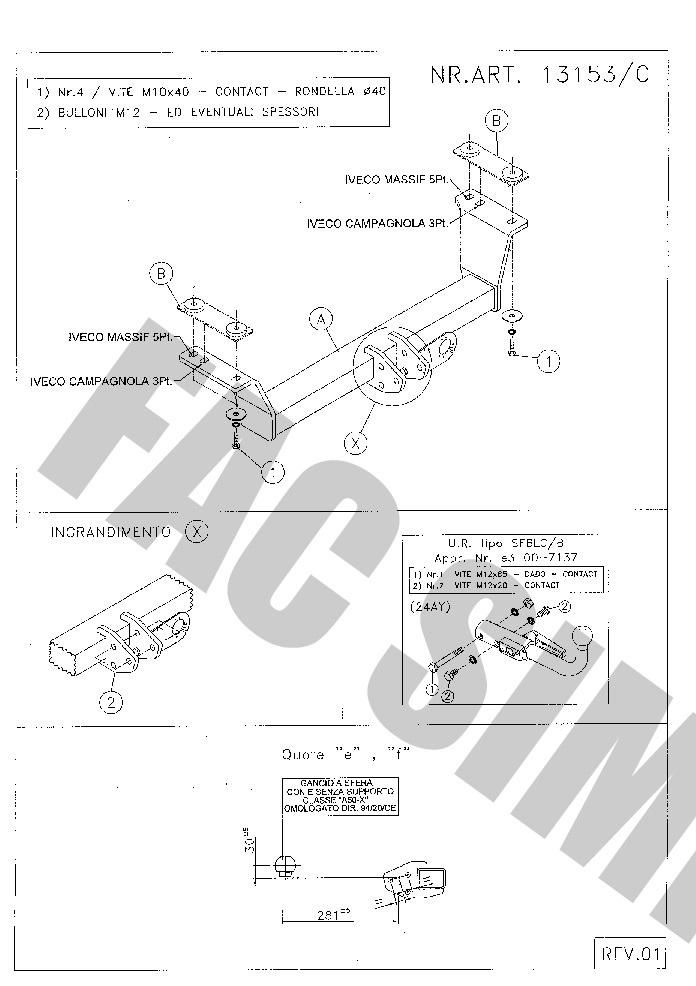 uni 13p E-Satz 13157//C/_B4 AHK Abnehmbare Anhängerkupplung Opel Combo D 12