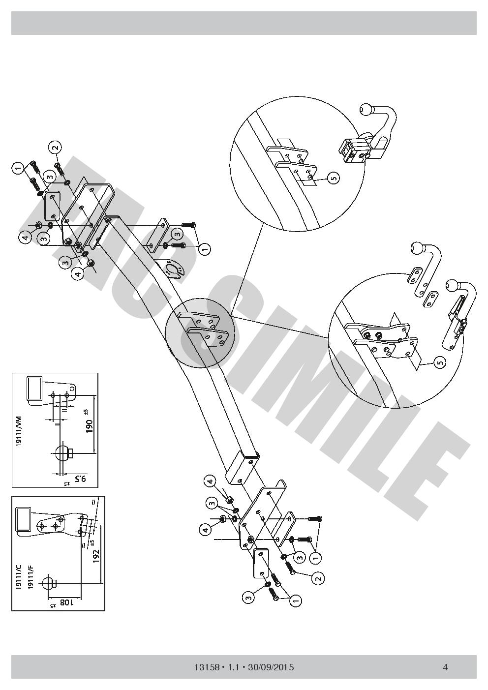 13p E-Satz Fiat Freemont AWD 11 AHK Abnehmbare Anhängerkupplung 131/_A2