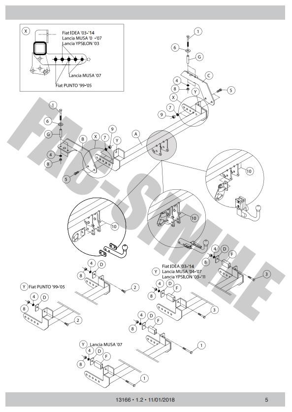 99-05 13166//F/_B2 Attelage Col de Cygne pour Fiat Punto 7Br Kit relais dériv