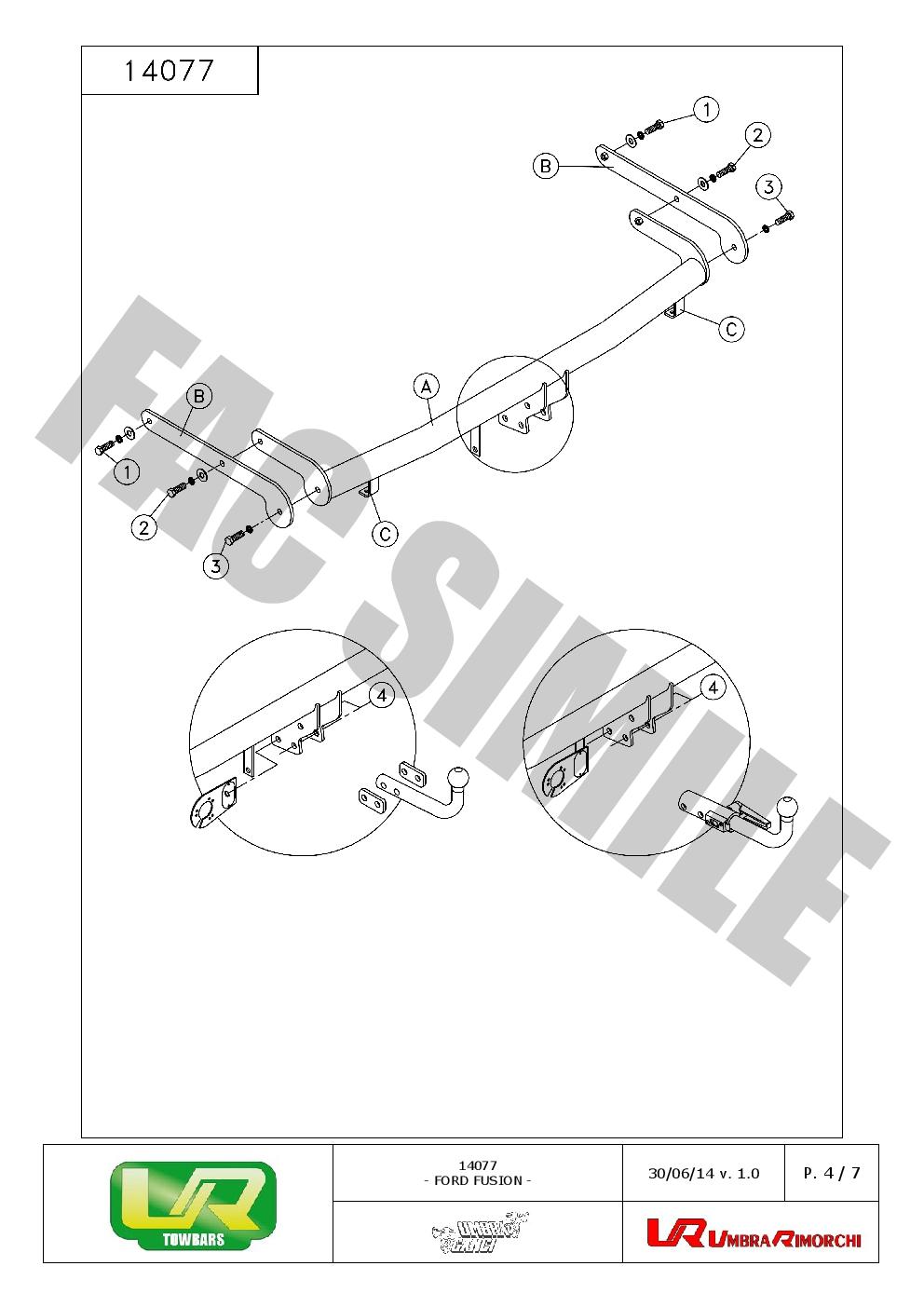 7p E-Satz Ford Fusion Kombi 2002-2005 1407/_A1 AHK Abnehmbare Anhängerkupplung