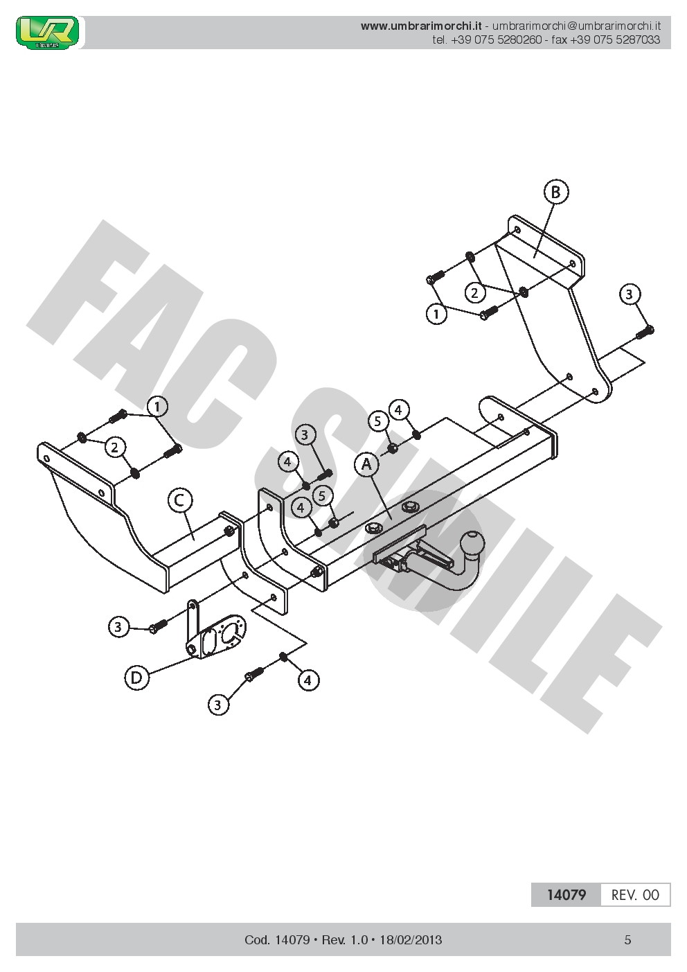 AHK Abnehmbare Anhängerkupplung 13p E-Satz Ford Transit Connect SL 02-12 14079B1