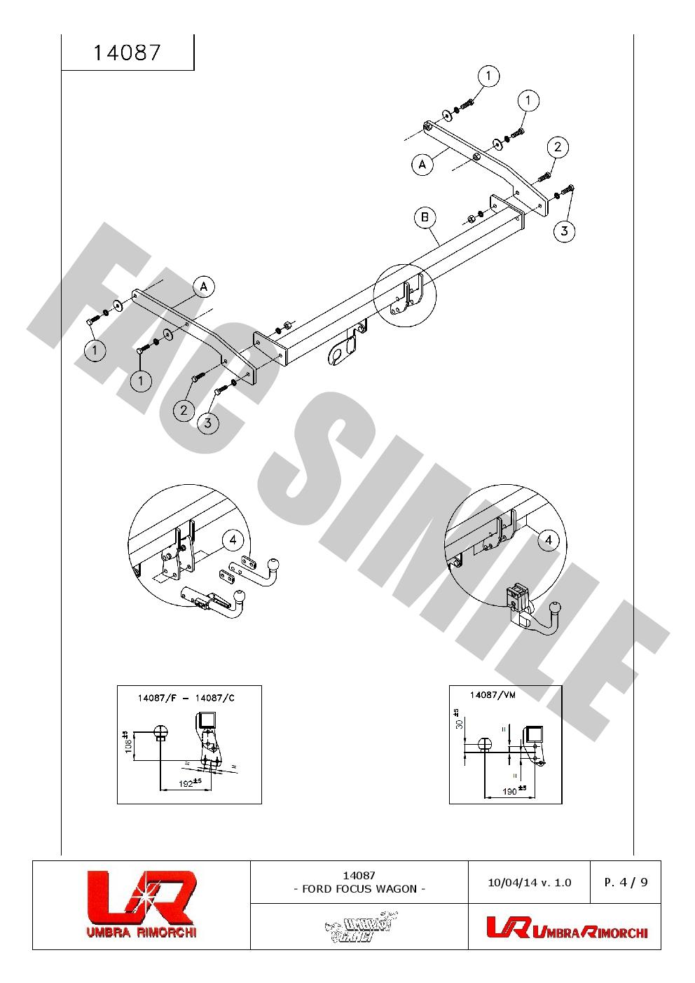 AHK Vertikale Anhängerkupplung 7p C2 E-Satz Ford Focus Wagon 11-18 14087/_B1