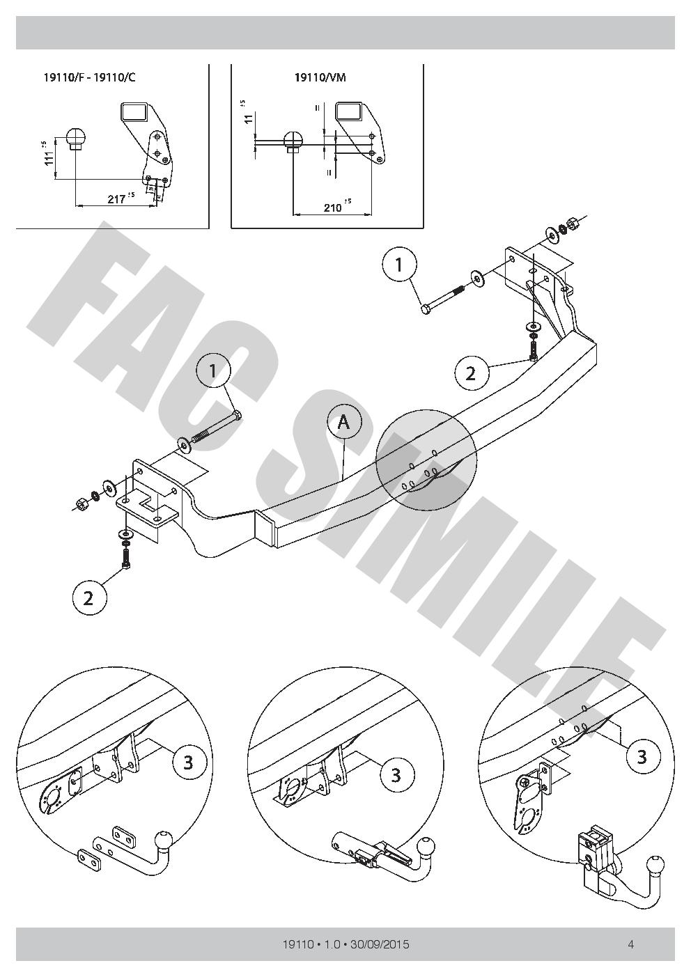 AHK Vertikale Abnehmbare Anhängerkupplung 7p C2 E-Satz Kia Sorento 09-12 1911/_B1