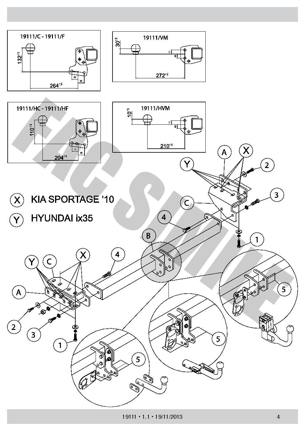 Towbar Detachable 13 pin kit C2 for Kia Sportage 4Wd 2010-2016 19111//C/_A5