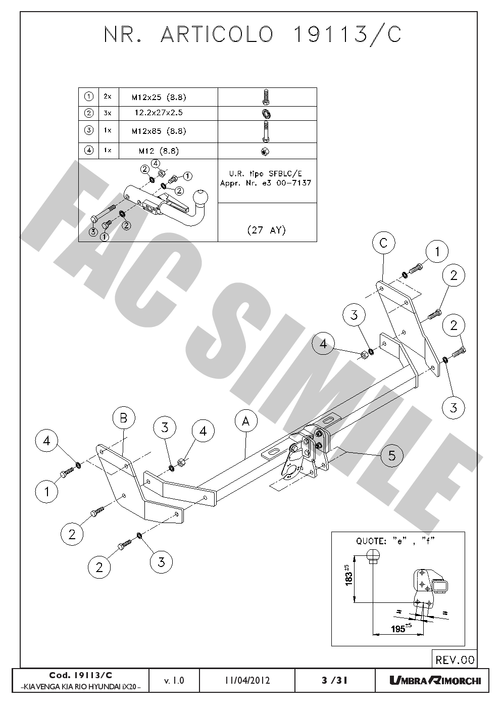 AHK Abnehmbare Anhängerkupplung 13p C2 E-Satz Hyundai iX20 10 19113/_B1
