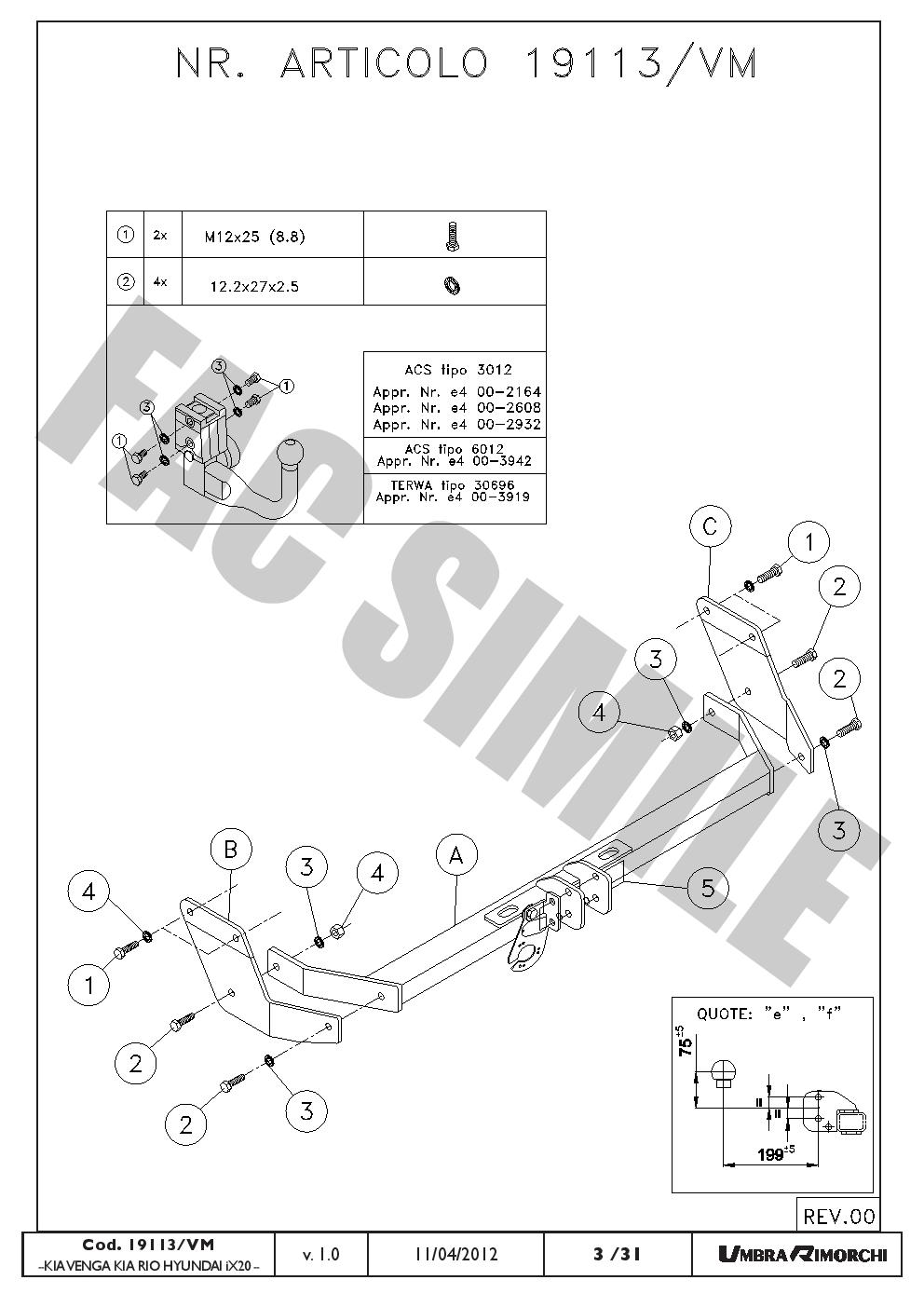Bola Remolque Vert Desmon Kit C2 7pin para KIA VENGA Hatchback 2009+