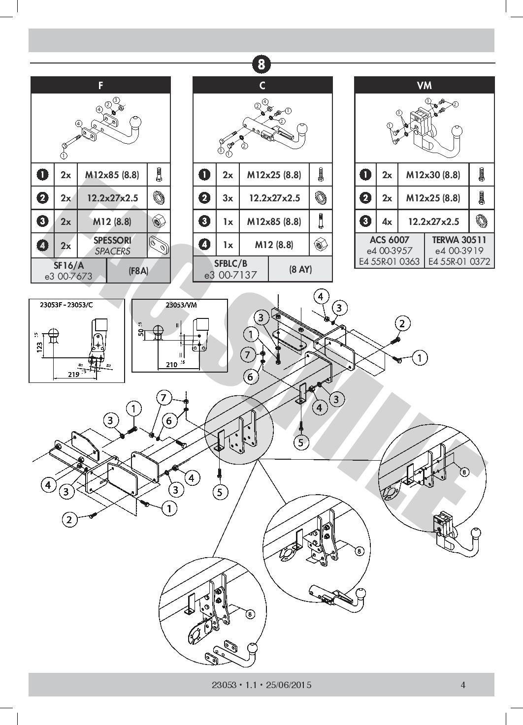 Bola Remolque Fija Cisne Kit C2 7p para Mercedes C CLASS BERLINA 00-07 230F/_A1
