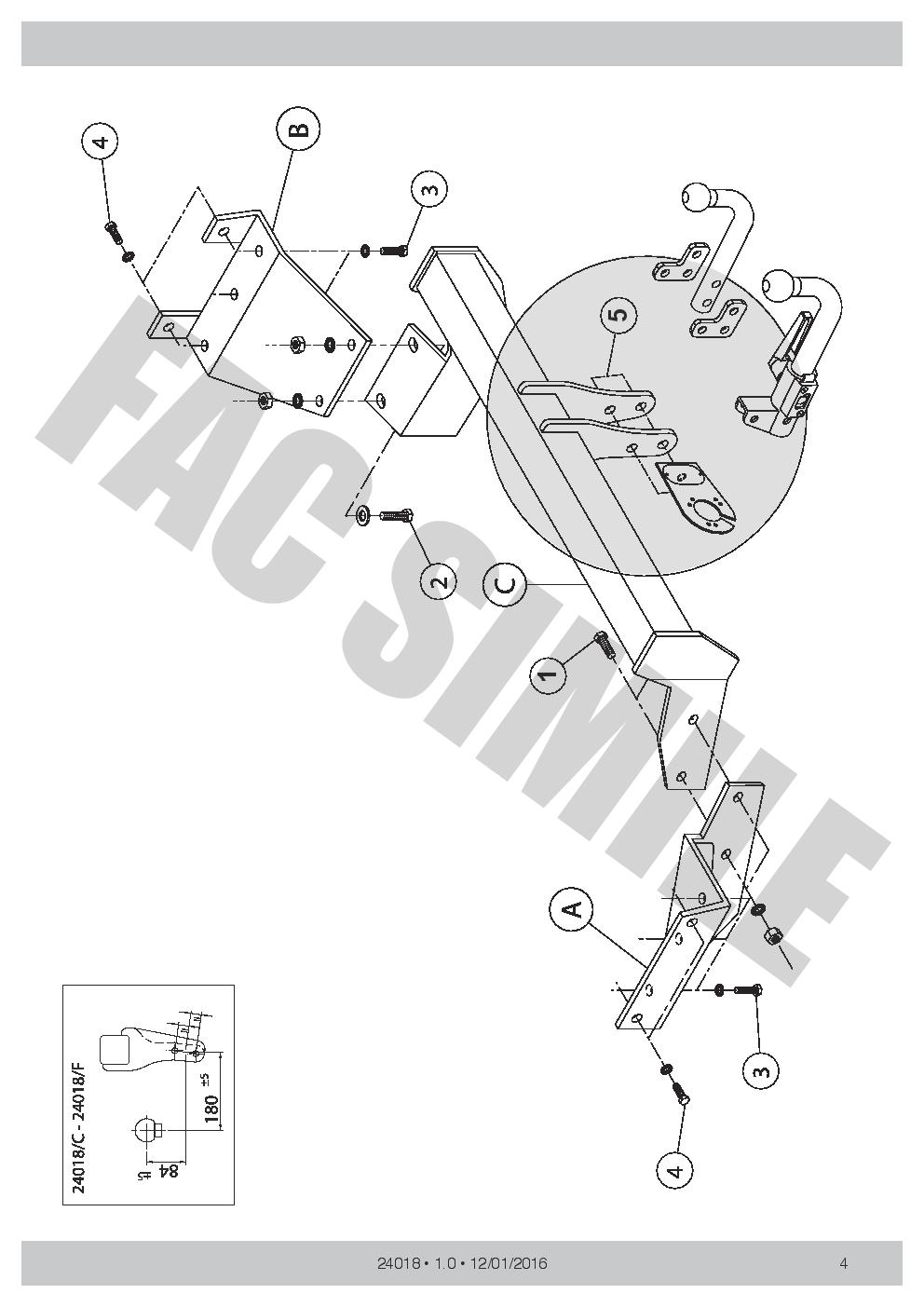 AHK Abnehmbare Anhängerkupplung 13p E-Satz Citroën C-Crosser 07 24018//C/_A1