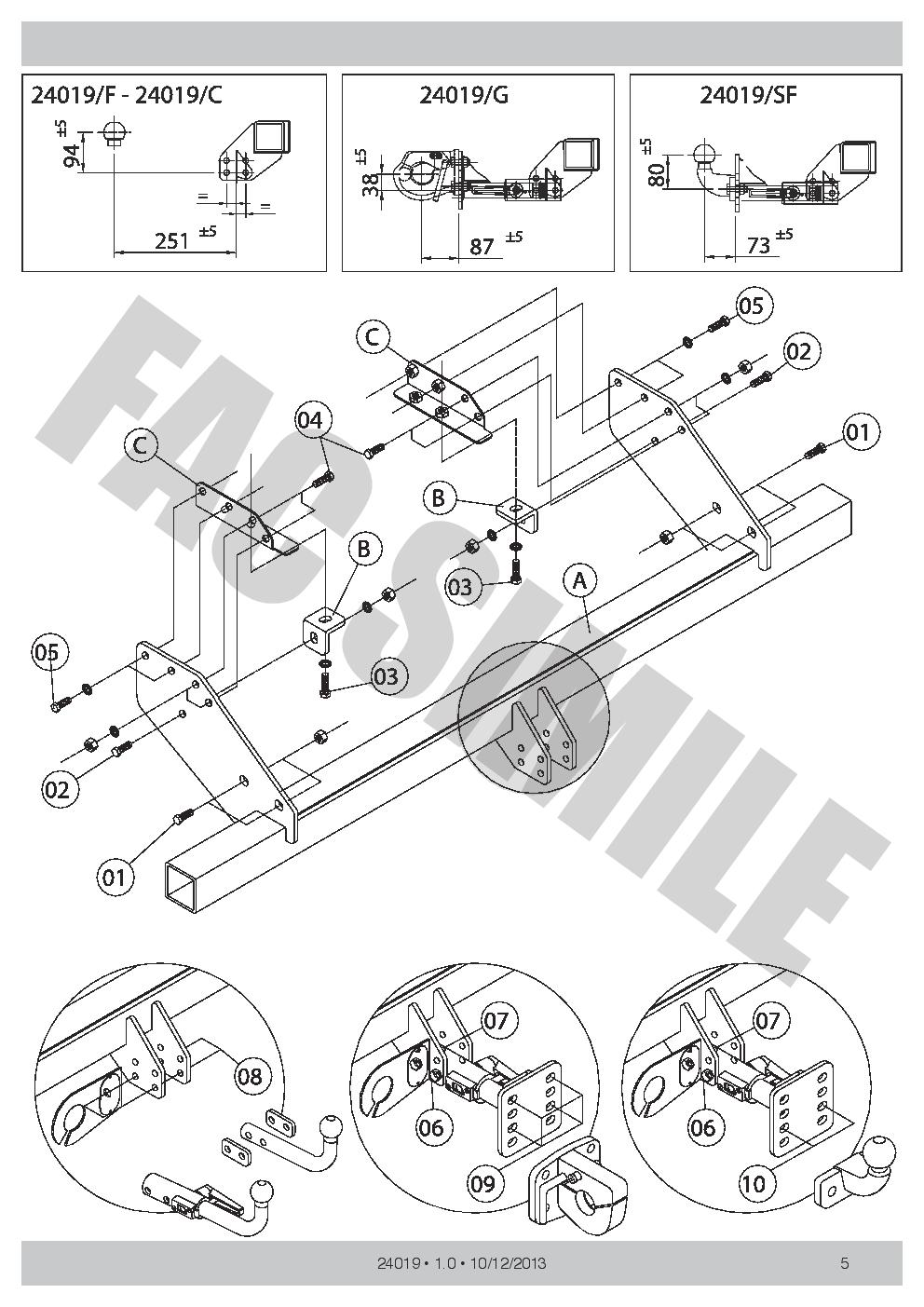 AHK Feste Starre Anhängerkupplung Mitsubishi L200 Double 10-15 24019/_B1