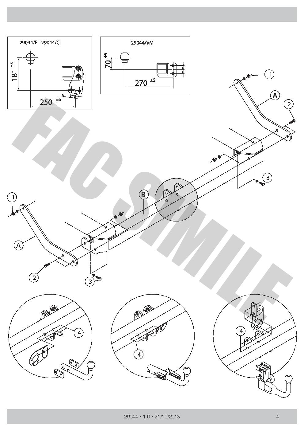 Detachable Towbar for Peugeot 308 Estate 1700 70 2007-2013 Quality 29044//C/_A1