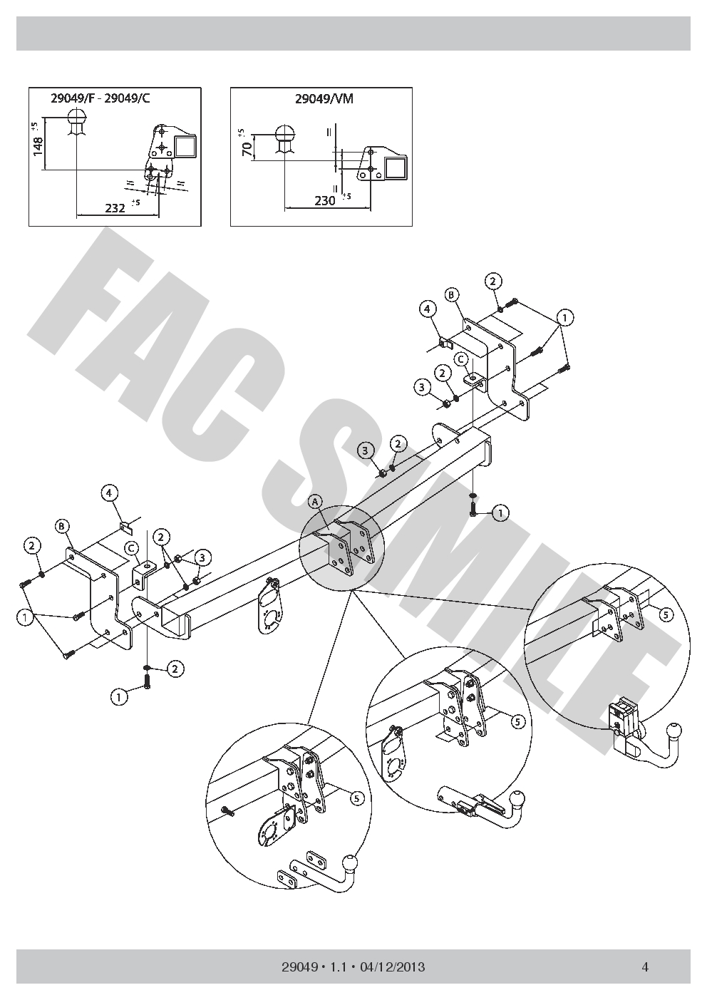AHK Abnehmbare Anhängerkupplung Peugeot 08 SUV 13 29049/_E1