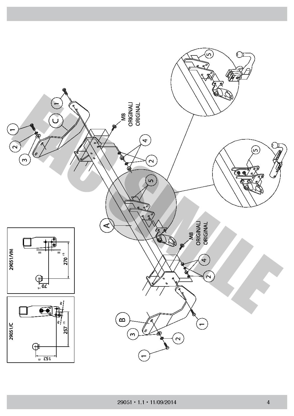 2905/_B1 AHK Vertikale Anhängerkupplung 7p C2 E-Satz Peugeot 508 Limo 2266 75 11
