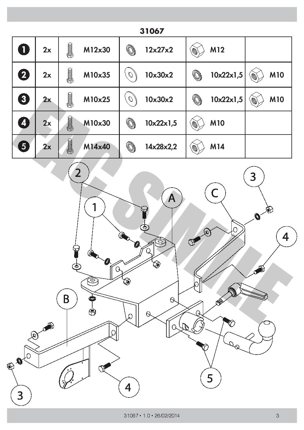 AHK 7p E-Satz C2 Anhängerkupplung Abnehmbare Renault Grand Espace 1997-02 31067