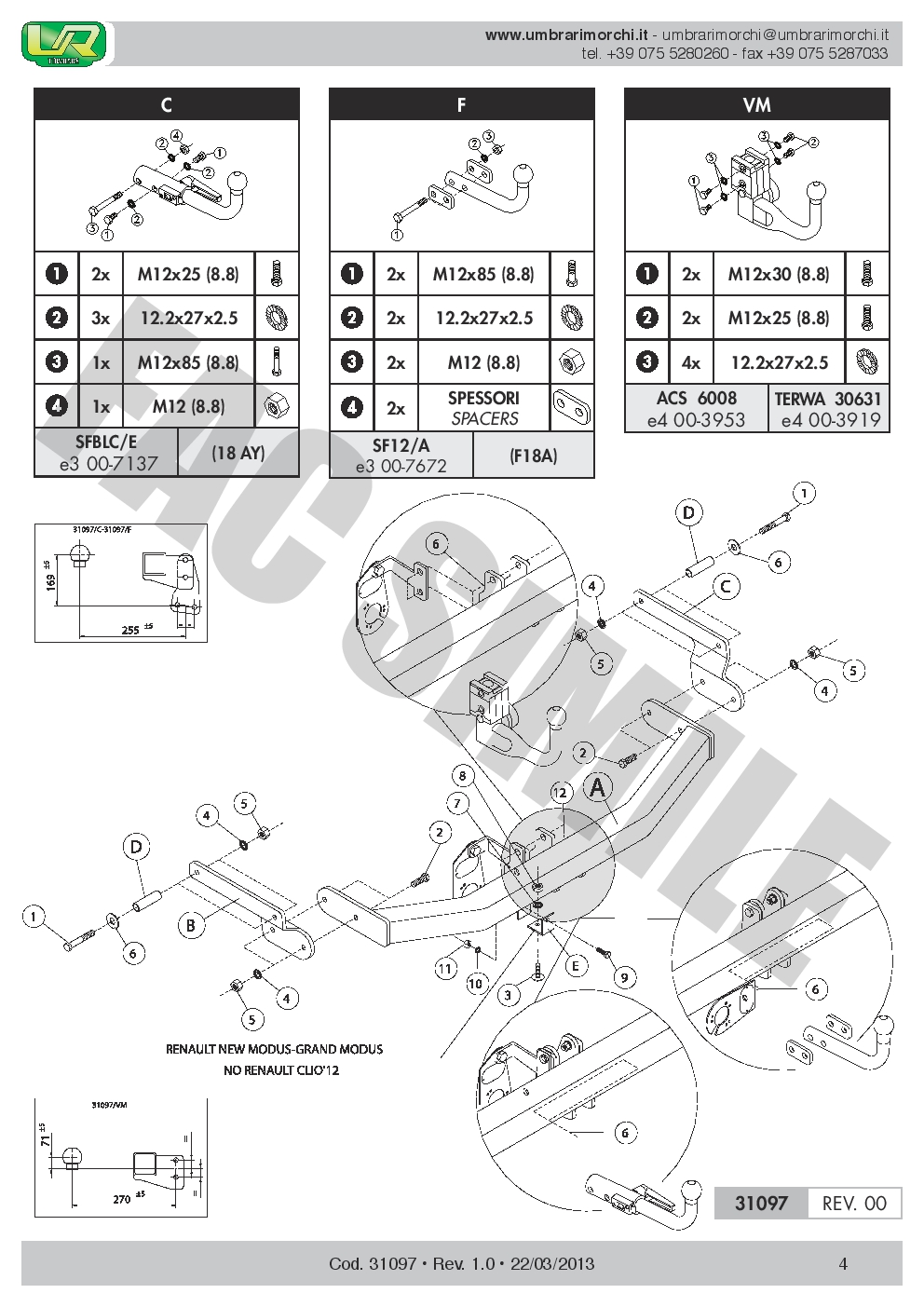 31097//VM/_A1 Kit C2 7 pin para Renault CLIO IV Hatch 12 Bola Remolque Vert