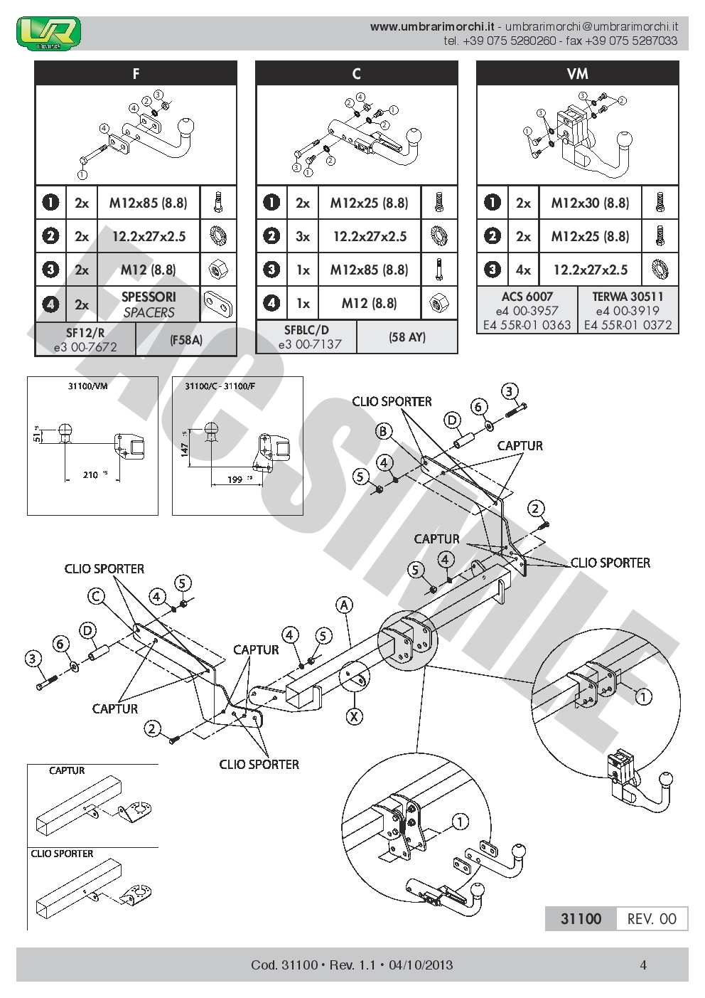 3110/_B1 AHK Vertikale Anhängerkupplung 7p C2 E-Satz Renault Captur Crossover 13