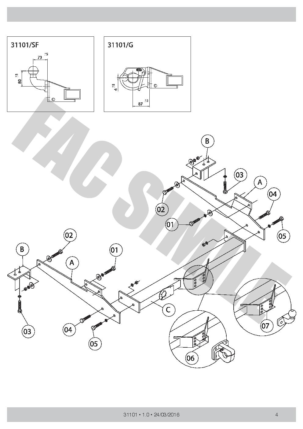 Bola de Remolque Tipo Placa para Renault MASTER II VAN 2300 100 98-03 31101SF/_A8