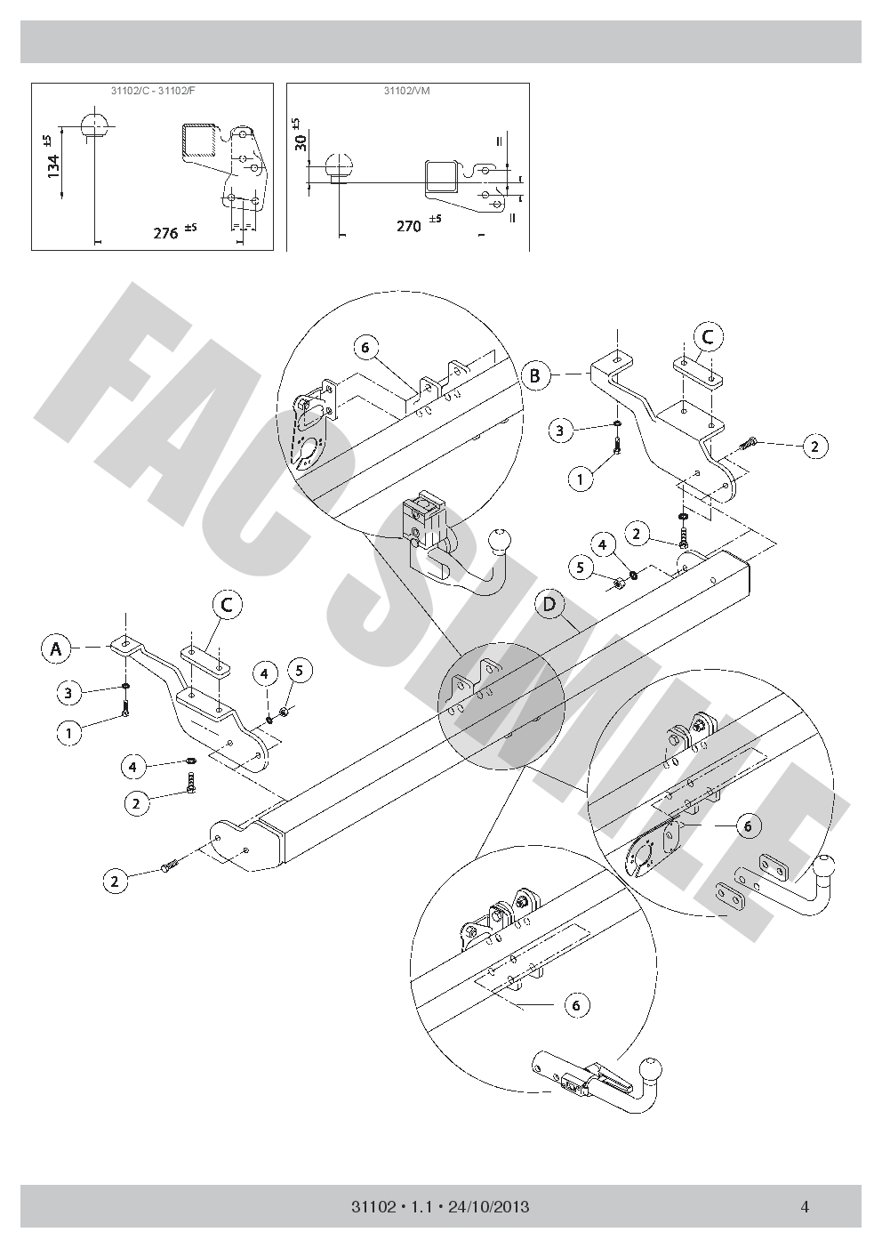 AHK Abnehmbare Anhängerkupplung 7p C2 E-Satz Mercedes Citan Van 12 31102/_B2
