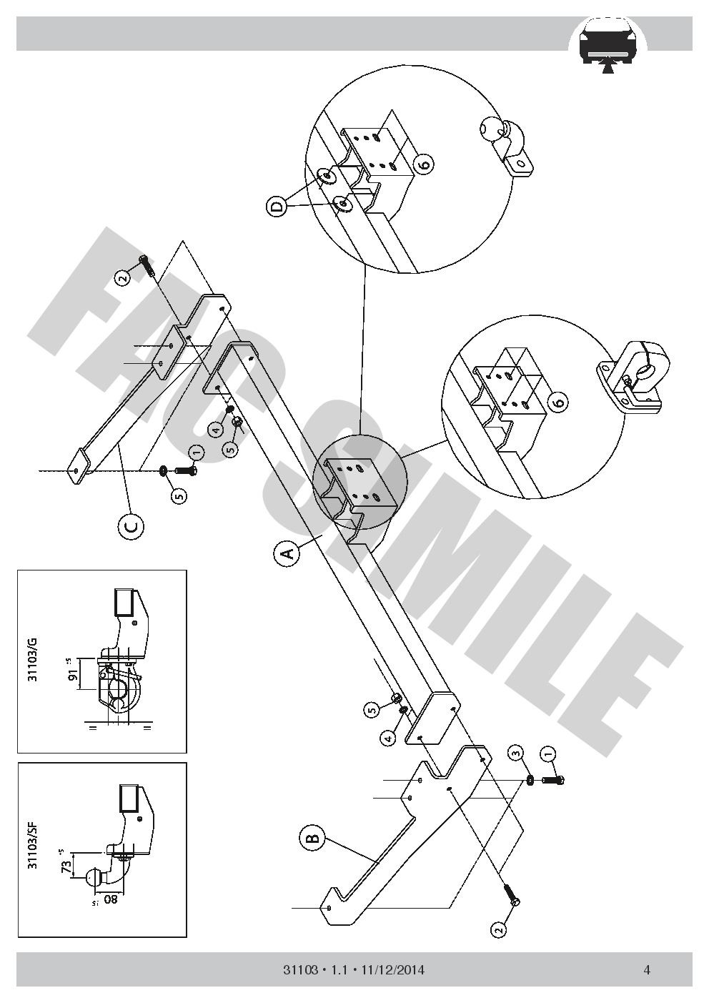 AHK Flansch Anhängerkupplung 7p C2 E-Satz Opel Vaux Vivaro Van 2014 31103/_B1