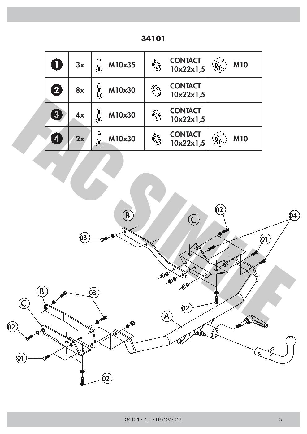 Detachable Towbar for Smart Forfour Hatchback 5door 750 50 2004 34101/_H1