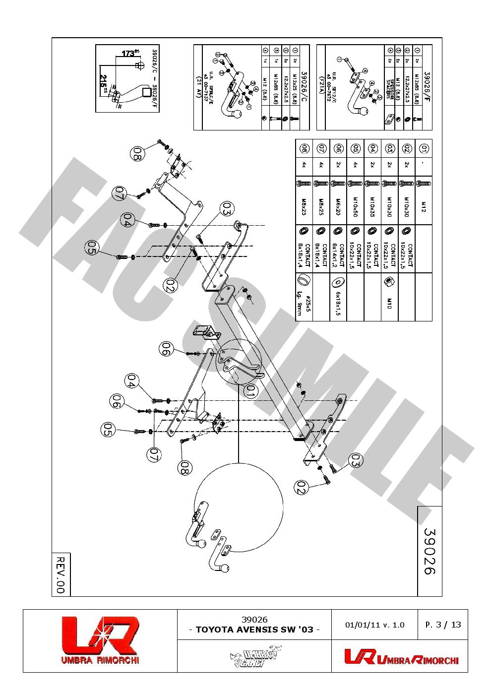 AHK Anhängerkupplung 7p E-Satz Toyota Avensis Station Wagon 03-08 39026/_A1
