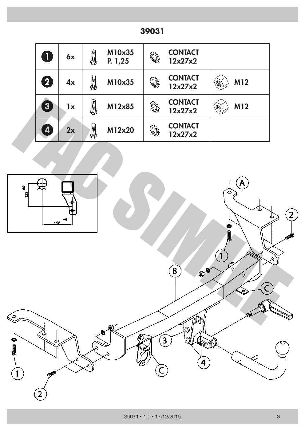 39031/_B1 AHK Abnehmbare Anhängerkupplung 7p C2 E-Satz Toyota Verso MPV 09