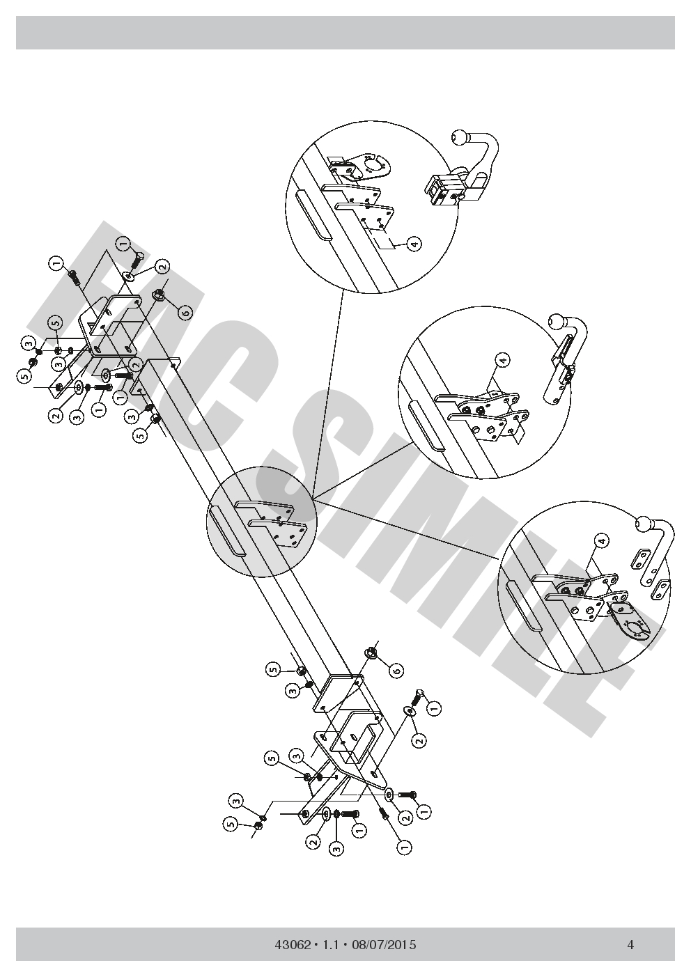 Bola Remolque Vertical Desmontable para VW CADDY IV Kit C2 13 Pin 15 43062VM/_A3