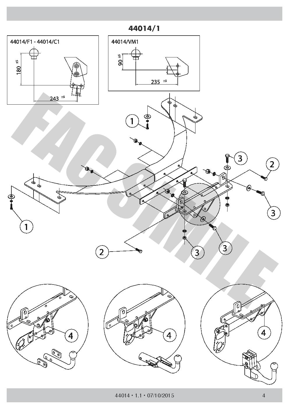 AHK Feste Starre Anhängerkupplung 13p C2 E-Satz Volvo V50 Kombi 04 44014/_E2