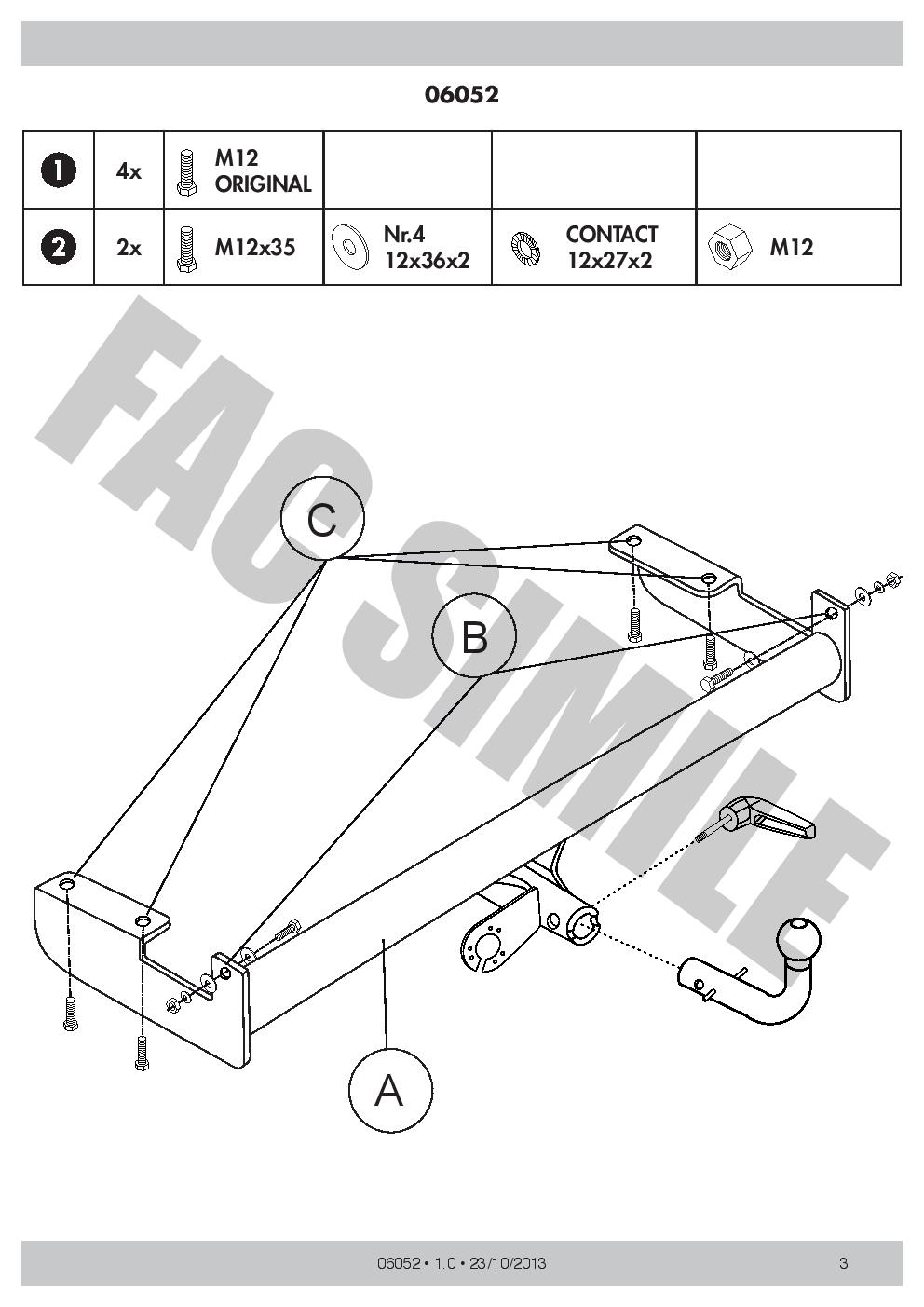 Detachable Towbar 13 Pin Kit C2 Wiring Car Tow Bar For Chrysler Grand Voyager